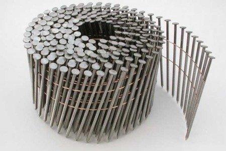 Gwoździe bębnowe na drucie 2,1 kąt 16° ryflowane galwanizowane długość 38mm